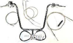 1 1/4 Ape Hanger 14 Chrome Handlebar Control Kit 98 05 Harley Dyna FXD