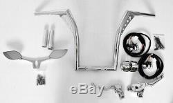 10 Rise Handlebars Ape Hangers Chrome Kit Hand Controls Mirrors Grips For Harle