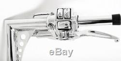12 Chrome Ape Hangers Handlebars 1-1/4 Bars Hand Control Cruise Fit Harley Bagg