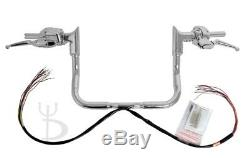 12 Chrome Ape Hangers Handlebars 1-1/4 Modular Bars Hand Controls Harley Touring