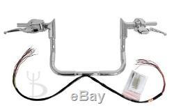 13 Chrome Ape Hangers Handlebars 1-1/4 Modular Bars Hand Controls Harley Touring