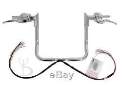 15 Chrome Ape Hangers Handlebars 1-1/4 Modular Bars Hand Controls Harley Touring