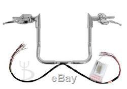 16 Chrome Ape Hangers Handlebars 1-1/4 Modular Bars Hand Controls Harley Touring