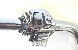 16 x 1.25 Ape Hanger Chrome Handlebar Control Kit 07 10 Harley Softail Deluxe