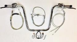 16 x 1.25 Ape Plug n P Chrome Handlebar Kit W Controls 96 99 Harley Road King