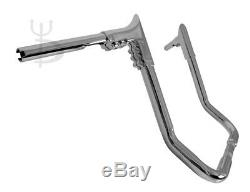 17 Chrome Ape Hangers Handlebars 1-1/4 Modular Bars Hand Controls Harley Touring