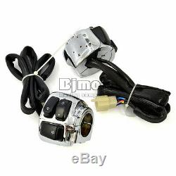 2x Motorcycle 1 Handlebar Switch Control Chrome + Wiring Harness for Harley