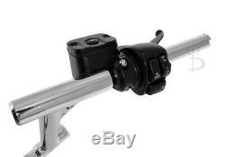 8 1-1/4 Fat Chrome Rsd Drag Handlebars Black Hand Controls Switches Bars Harley