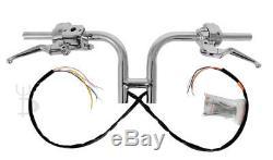 8 Rise Chrome H Club Handlebars Hand Controls Switches Bars Harley 1-1/4 Fat