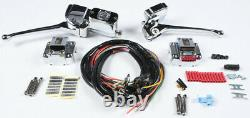 Chrome Complete Handle Bar Control Kit with Black Switches Harley Fatbob 1979-1981