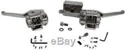 Chrome Handlebar Control Kit Master Cylinder Levers for Harley 84-95 Single Disc