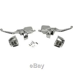 Chrome Handlebar Control Kit Master Cylinder Levers for Harley 96-06 Single Disc