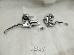 Chrome Handlebar Controls Clutch Brake Harley Softail Dyna Sportster Ironhorse