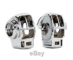 Chrome Handlebar Controls Switch Housings Radio Cruise Kit Harley Touring 96-07
