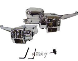 Chrome Handlebar Hand Control Kit Harley Sportster XL 883 883c 1200 1200c 04-06