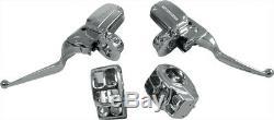 Chrome Hydraulic Brake Clutch Handlebar Control Kit Switch Housings Harley 14-18