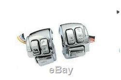 Handlebar Control Switch Housing Kit Chrome, for Harley Davidson, by V-Twin