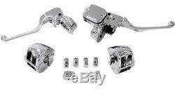 Handlebar Hand Control Kit Chrome Switch Caps Harley Dyna Fxdf Fat Bob 2012-2014