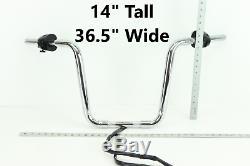 Harley Dyna CHROME14 APE HANGER Handlebar Control Cable Kit 1.25 THICK