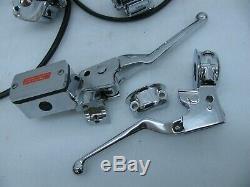 New Harley Davidson Chrome Handlebar Control kit Softail Dyna FXR Sportster &
