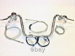 1 1/4 Ape Hanger 12 Chrome Handlebar Control Kit 07-10 Harley Fatboy Flstf