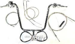 16 1,25 Ape Hanger Chrome Kit De Contrôle 96 99 Harley Guidon Heritage Softail