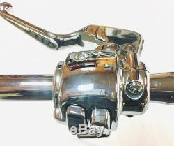 16 X 1 1/4 Ape Hanger Chrome Guidon Kit W 00 06 Commandes Harley Road King