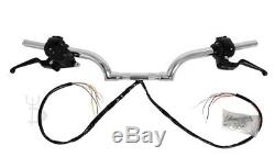 2 Black Rise Mustache Drag Guidons Commandes Manuelles Commutateurs Bars Harley Fat