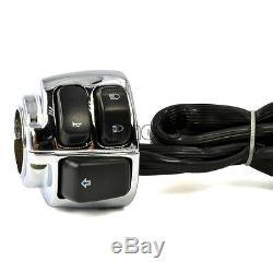 2x Moto 1 Guidon Commutateur Chrome + Faisceau De Câblage Pour Harley