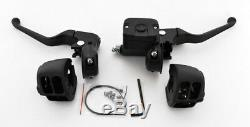 8 Guidons Drag 1-1 / 4 Fat Chrome Rsd Commandes Manuelles Noir Commutateurs Bars Harley