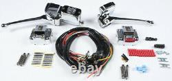 Chrome Complète Poignée Bar Kit De Contrôle Interrupteur Noir Harley Sportster 1000 72-81