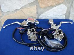 Commutateurs Noirs Chrome Handlebar Commandes 96 2006 Harley Ape Hanger Softail Dyna