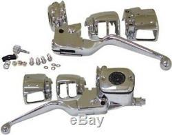 Contrôle Du Guidon Chrome Kit Maître-cylindre Pour Dot 5 Levers 96-06 Disque Simple