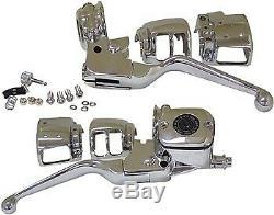 Contrôle Du Guidon Chrome Kit Maître-cylindre Pour Harley Levers 96-06 Disc Simple